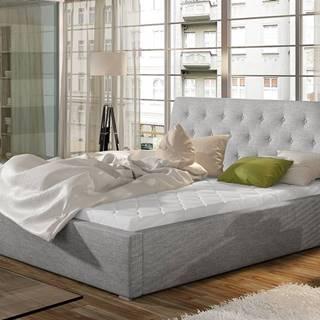 Monzo 160 čalúnená manželská posteľ s roštom svetlosivá (Sawana 21)
