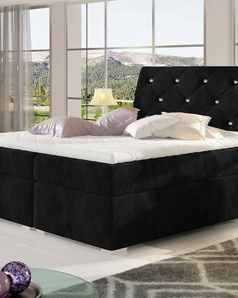 NABBI Beneto 140 čalúnená manželská posteľ s úložným priestorom čierna (Kronos 07)