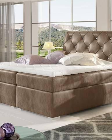 Beneto 140 čalúnená manželská posteľ s úložným priestorom hnedá