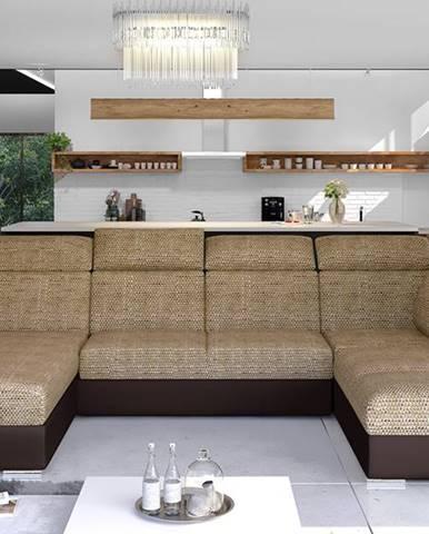 Ermo U P rohová sedačka u s rozkladom a úložným priestorom cappuccino