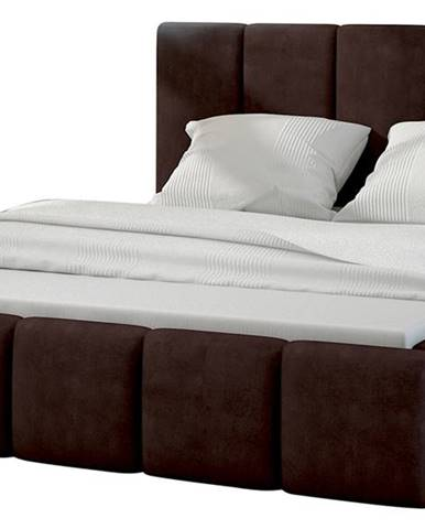 Evora 140 čalúnená manželská posteľ tmavohnedá (Jasmine 29)