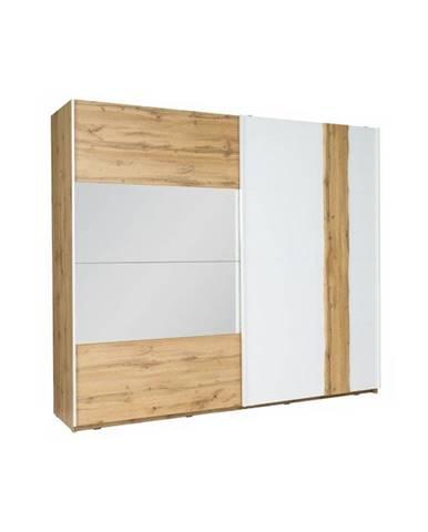 Vodena 200 šatníková skriňa s posuvnými dverami a zrkadlom dub wotan