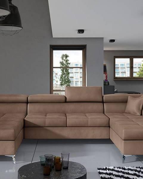 NABBI Enrico U P rohová sedačka u s rozkladom a úložným priestorom hnedá