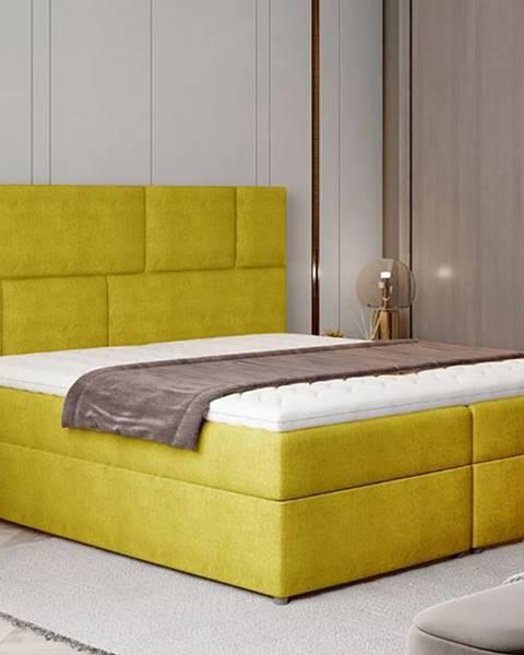 NABBI Ferine 165 čalúnená manželská posteľ s úložným priestorom žltá