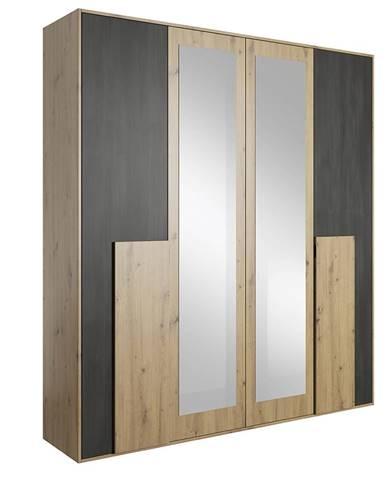 Bafra 4D štvordverová šatníková skriňa so zrkadlom dub artisan