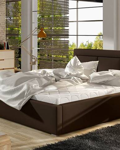 Branco UP 140 čalúnená manželská posteľ s roštom tmavohnedá (Soft 66)