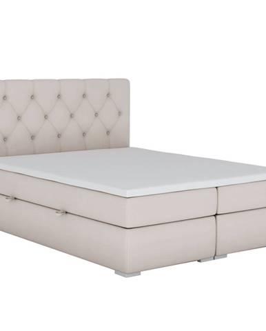 Eshly čalúnená manželská posteľ s matracom béžová