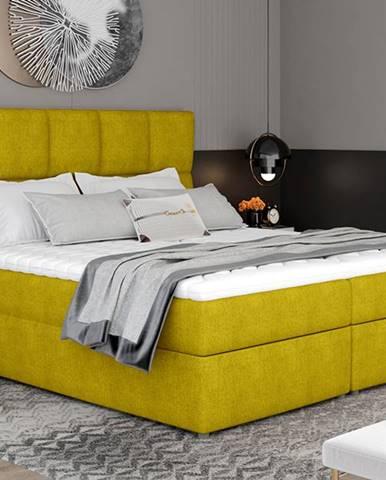 Grosio 145 čalúnená manželská posteľ s úložným priestorom žltá