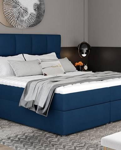 Grosio 165 čalúnená manželská posteľ s úložným priestorom tmavomodrá