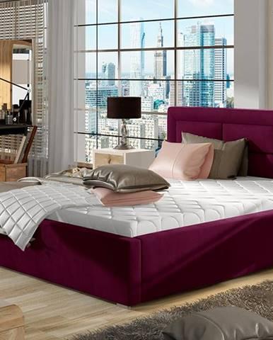 Rovigo 140 čalúnená manželská posteľ s roštom vínová