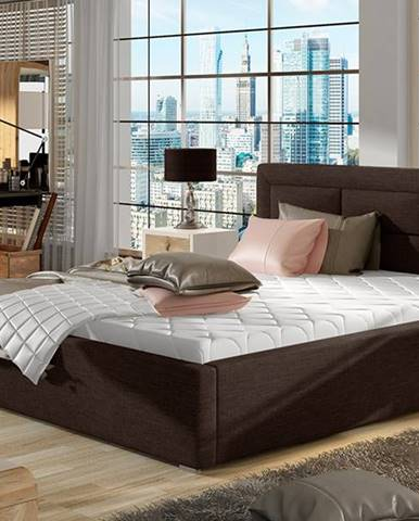 Rovigo UP 200 čalúnená manželská posteľ s roštom tmavohnedá (Sawana 26)