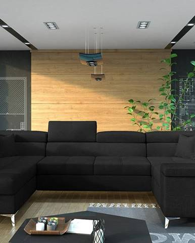 Torres U P rohová sedačka u s rozkladom a úložným priestorom čierna (Sawana 14)