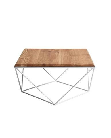 Konferenčný stolík s bielou podnožou a doskou z masívneho duba Custom Form Daryl, 80 x 80cm