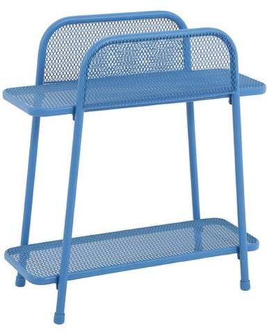 Modrý kovový odkladací stolík na balkón ADDU MWH, výška 70 cm