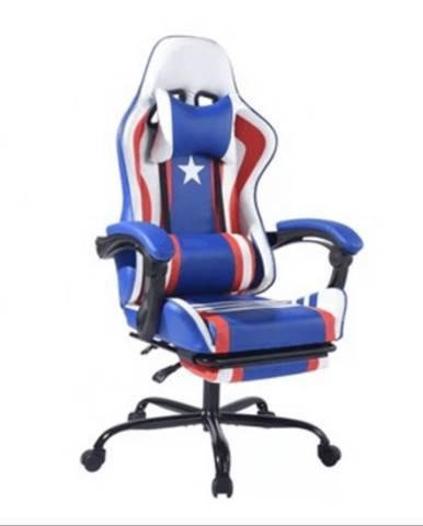 Kancelárske/herné kreslo modrá/červená/biela CAPTAIN