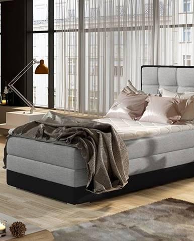 Alessandra 90 L čalúnená jednolôžková posteľ svetlosivá