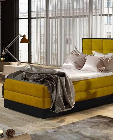 Alessandra 90 L čalúnená jednolôžková posteľ žltá