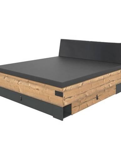 Posteľ ALYSSA strieborná jedľa/grafit, 160x200 cm