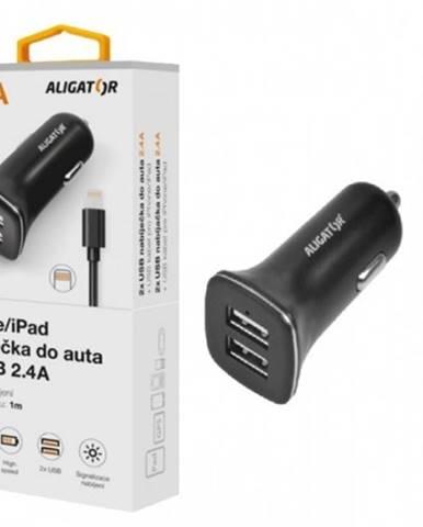 Autonabíjačka Aligator 2xUSB 2,4A + kábel Lightning, čierna