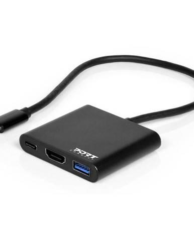 USB Hub Port Connect USB-C/Hdmi, USB 3.0, USB-C 60W čierny