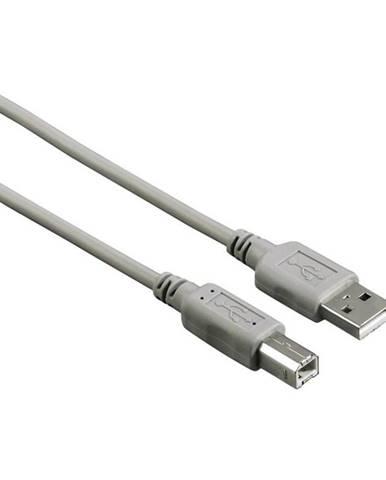 Kábel Hama USB / USB-B, 1,8m sivý