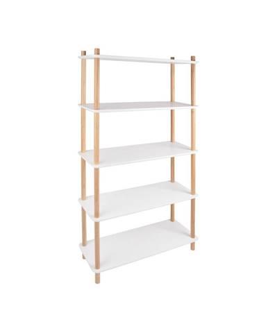 Biely regál s bambusovými nohami Leitmotiv Cabinet Simplicity