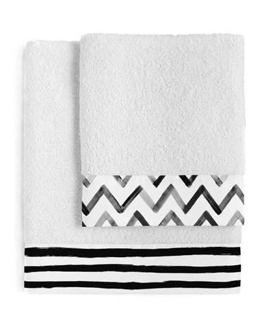 Súprava 2 bavlnených uterákov Blanc Stripes