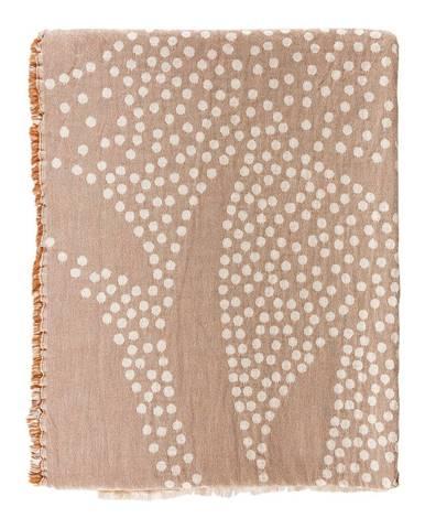 Ružový bavlnený pléd Södahl Maja, 130x170cm