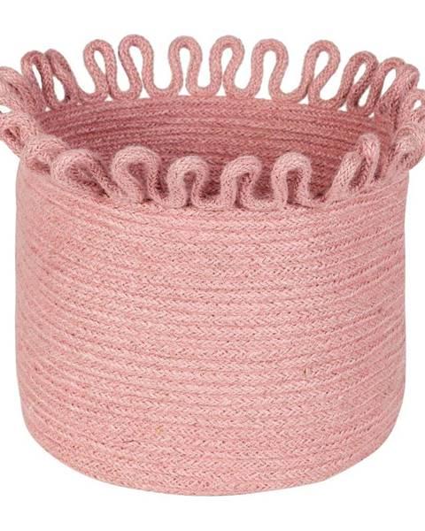Nattiot Ružový ručne vyrobený úložný jutový kôš Nattiot Omala
