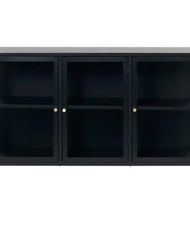 Čierna komoda s presklenými dverami Unique Furniture Carmel, dĺžka 132 cm