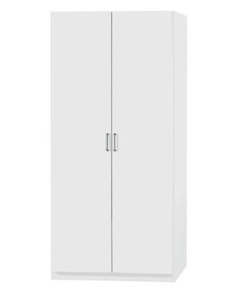 Sconto Policová skriňa PARKER biela, výška 210 cm, hĺbka 41 cm
