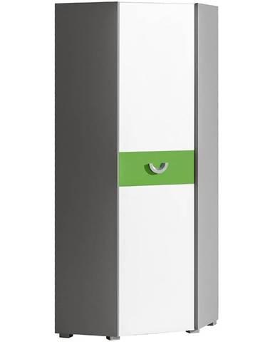 Rohová skriňa Futuro F7 Zelená/Biely/Grafit