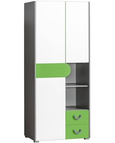Skriňa 2D2S Futuro F1 Zelená/Biely/Grafit