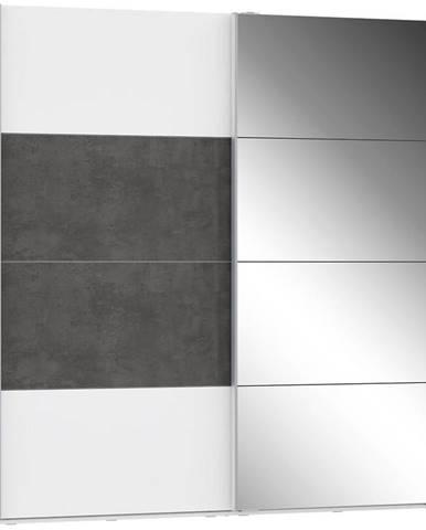 Skriňa Olivia 220 biela/beton/zrkadlo 1D