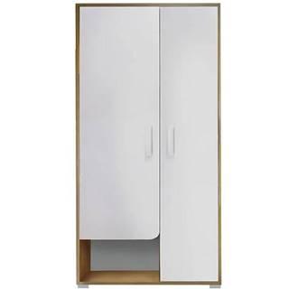 Skriňa Bruno 1 90 cm dub lefkas/biela/žltá
