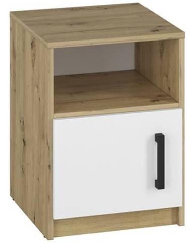 Nočný stolík Fini 11 dąb dub artisan/biela/antracit