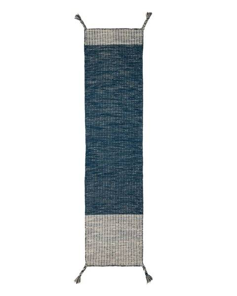Flair Rugs Modrý vlnený behúň Flair Rugs Anu, 60 x 200 cm