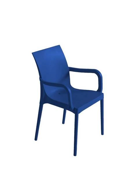 Möbelix Plastová stolička s podrúčkami Eset Modrá