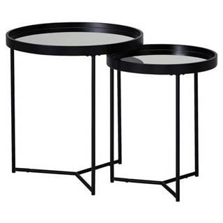 Príručný stolík Z Čierneho skla A kovu