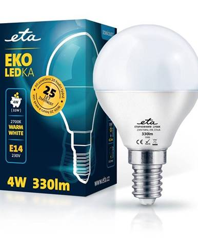 LED žiarovka ETA EKO LEDka mini globe 4W, E14, teplá biela
