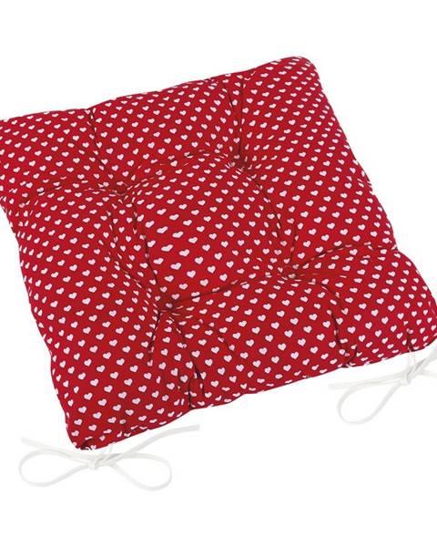 Bellatex Bellatex Sedák Adela prešívaný Srdiečka červená, 40 x 40 cm