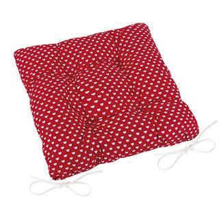 Bellatex Sedák Adela prešívaný Srdiečka červená, 40 x 40 cm
