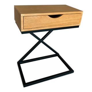 Príručný/nočný stolík dub/čierna VIRED