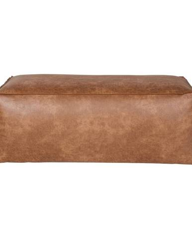 Hnedý puf s poťahom z recyklovanej kože BePureHome Rodeo
