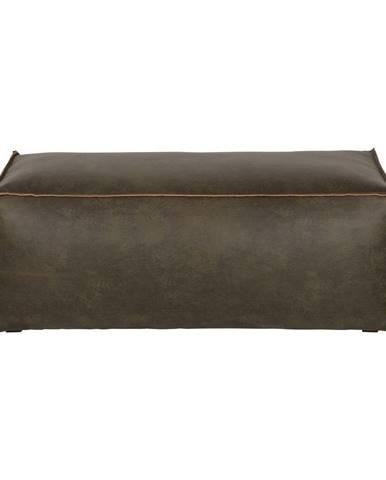 Tmavozelený puf s poťahom z recyklovanej kože BePureHome Rodeo