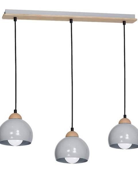 Homemania Sivé závesné svietidlo s drevenými detailmi Dama Tres