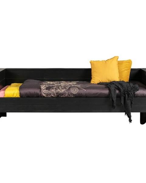 WOOOD Čierna posteľ/sofa z borovicového dreva WOOOD Dennis