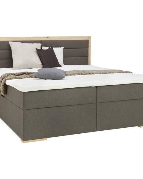 Carryhome Carryhome POSTEĽ BOX, 180/200 cm, textil, kompozitné drevo, sivá, farby dubu - sivá, farby dubu