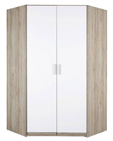 Carryhome ROHOVÁ SKRIŇA, biela, farby dubu, 117/197/117 cm - biela, farby dubu