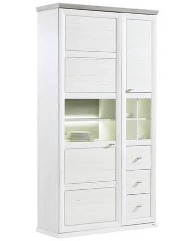 Hom`in VITRÍNA, sivá, biela, 110/209/43 cm - sivá, biela
